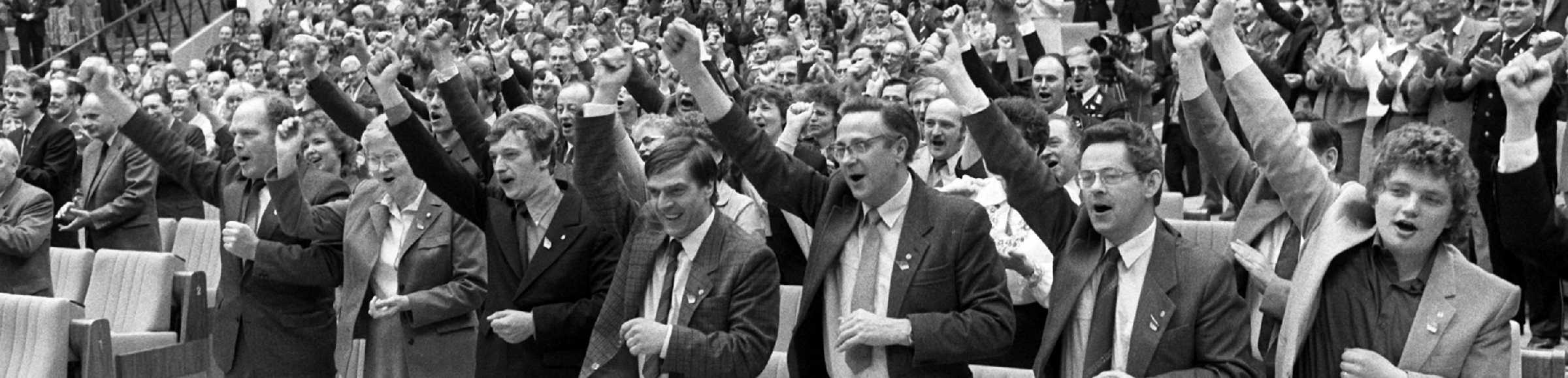 Delegates at the XI. Party Congress of the SED Socialist Unity Party of Germany in Berlin, capital of the GDR