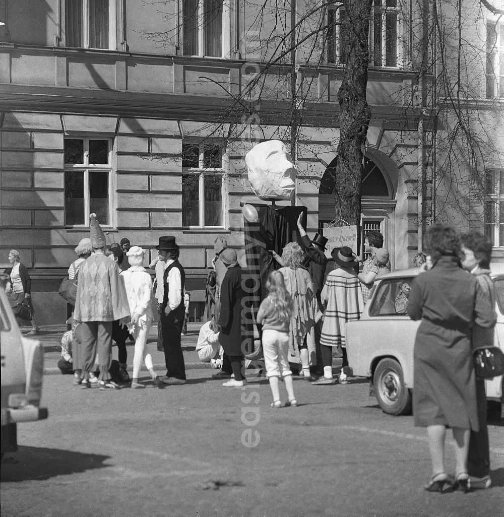 GDR picture archive: Potsdam - Demonstration with street protest on the Chernobyl nuclear disaster in Potsdam in the state Brandenburg in the area of the former GDR, German Democratic Republic