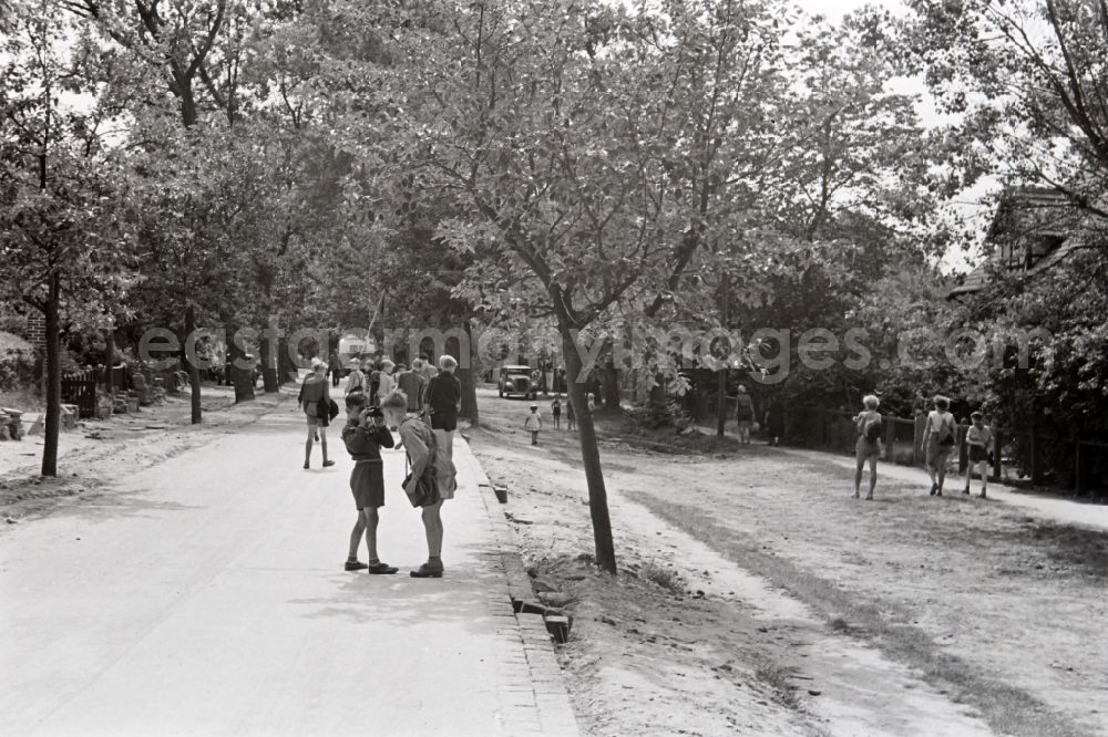 GDR picture archive: Prerow - School children and teenagers on Lange Strasse in Prerow in the state of Mecklenburg-West Pomerania in the area of the former GDR, German Democratic Republic.