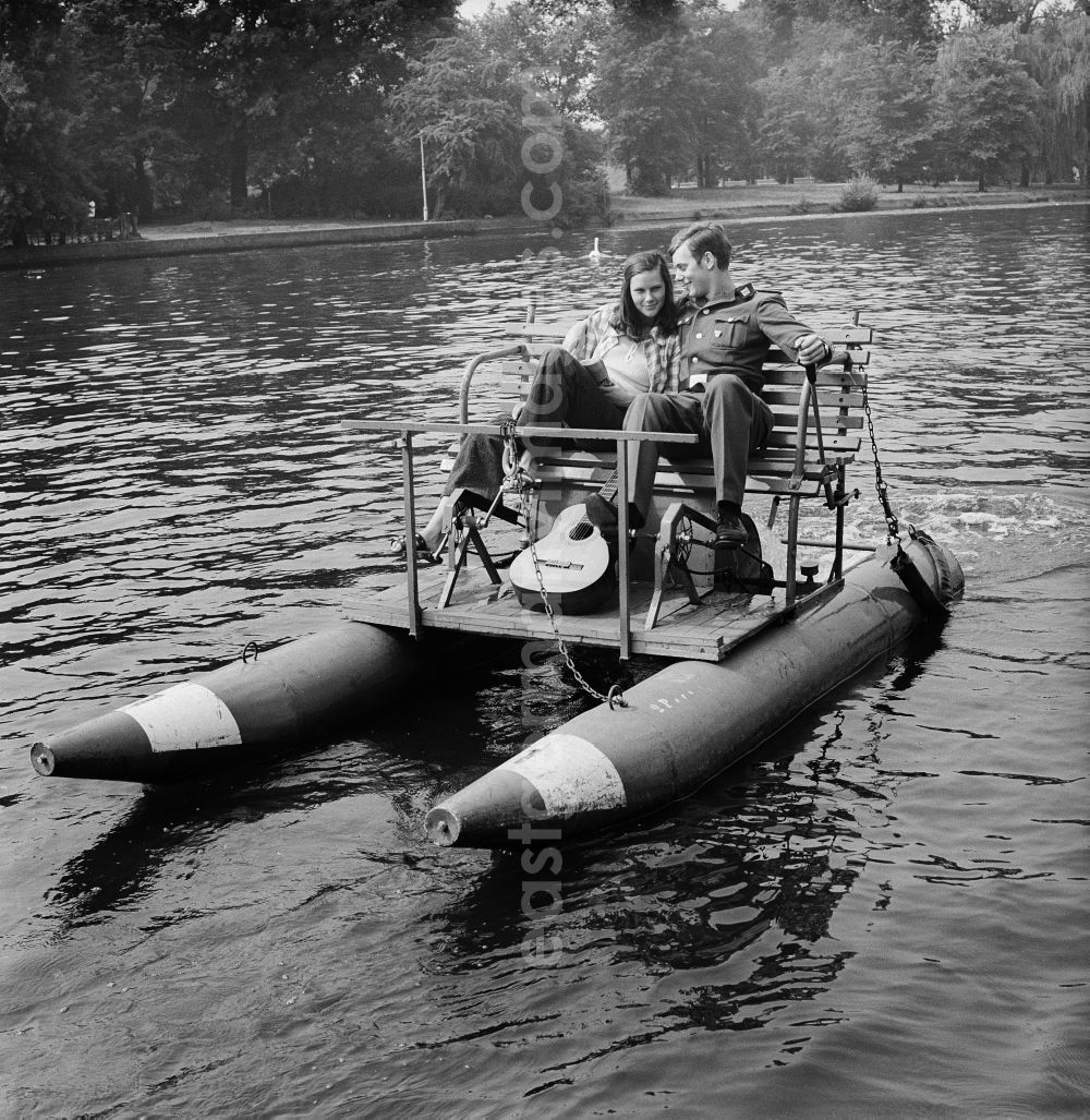Gdr Photo Archive Berlin A Pair In Love On Pedal Boat The Spree