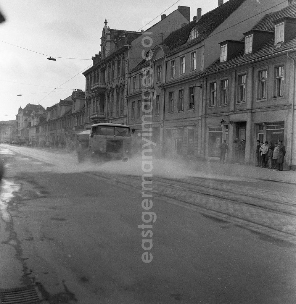 GDR photo archive: Potsdam - Water truck truck Skoda Liaz MTS 24 during the street cleaning of Friedrich-Ebert-Strasse in the district Innenstadt in Potsdam in the state Brandenburg in the area of the former GDR, German Democratic Republic