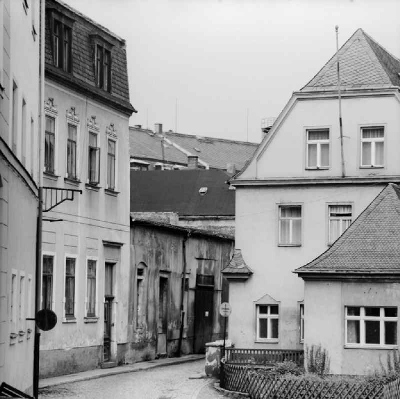 Old town area in Annaberg-Buchholz in the federal state of Saxony on the territory of the former GDR, German Democratic Republic