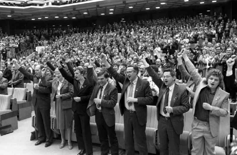 Delegates at the XI. Party Congress of the SED Socialist Unity Party of Germany in Berlin, capital of the GDR.