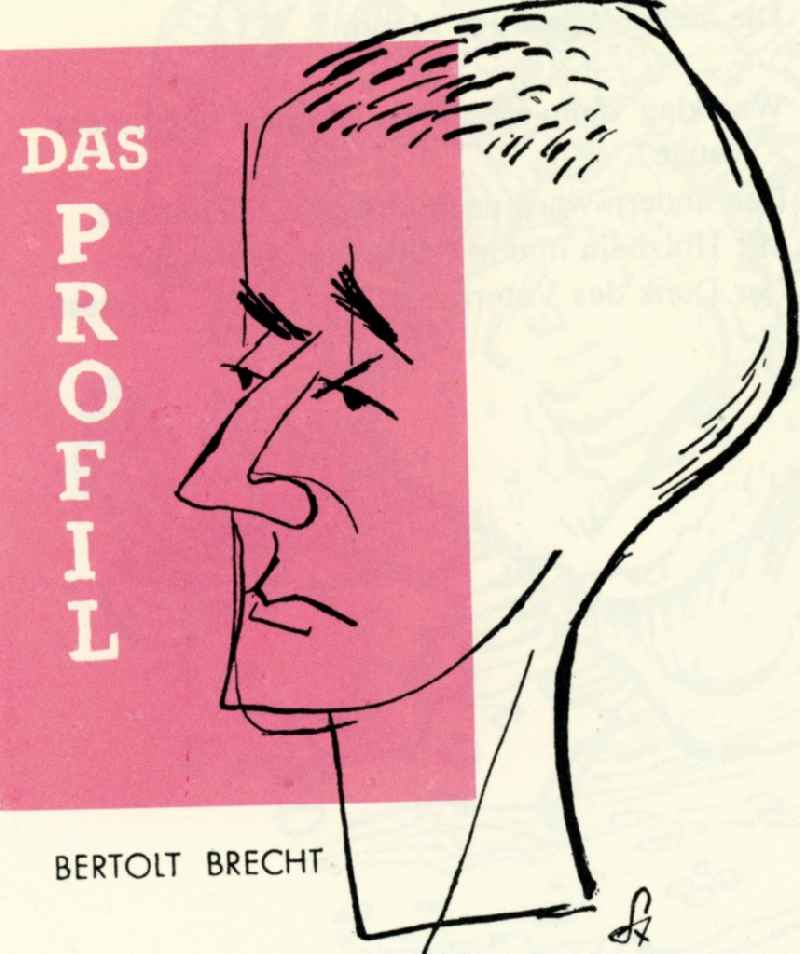 Colored graphics 'The profile' of the GDR artist Herbert Sandberg in Berlin, the former capital of the GDR, German Democratic Republic