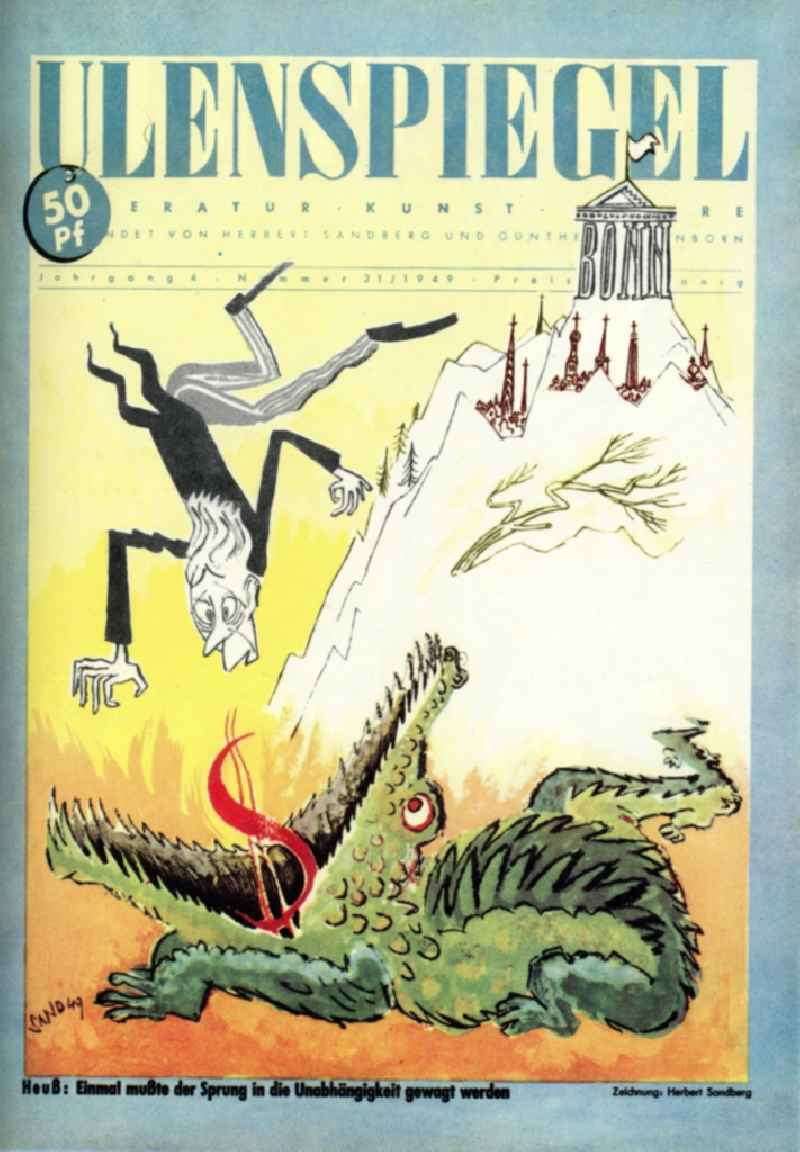 Colored graphics 'Once the leap to the independece had to be ventured' of the GDR artist Herbert Sandberg in Berlin, the former capital of the GDR, German Democratic Republic. Used on the cover of the 'Ulenspiegel' (year 4 No. 21)