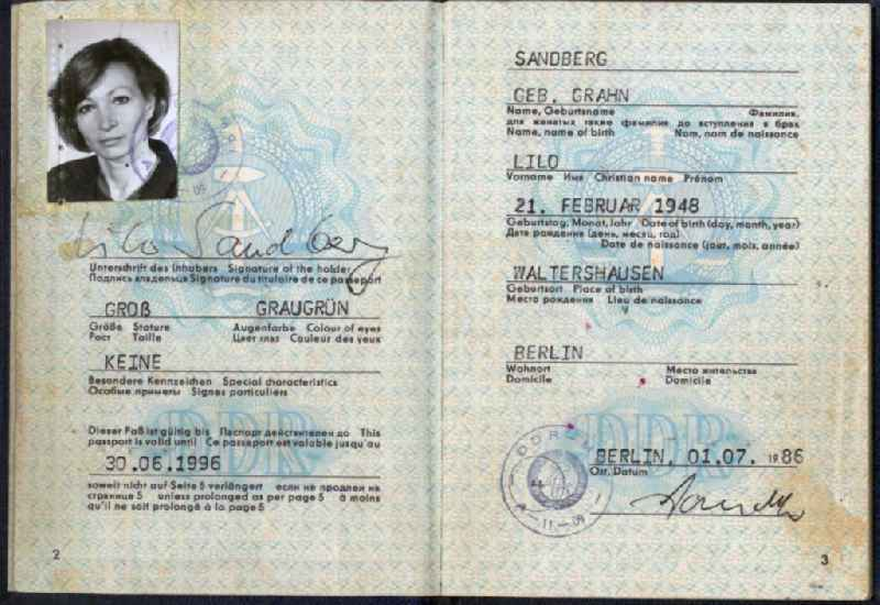 Reproduction pasport of actress Lilo Grahn issued in Berlin, the former capital of the GDR, German Democratic Republic. For most GDR citizens, the coveted travel document was only available with the turnaround, and formally it was reserved for selected travel cadres