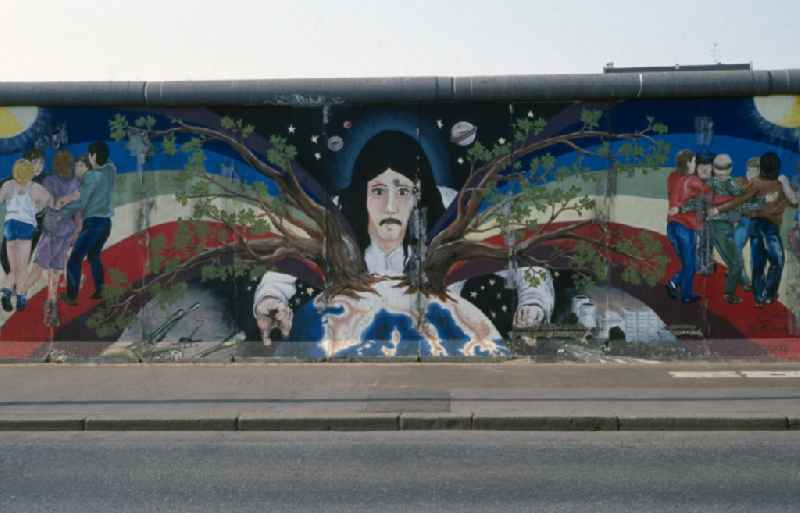 Artwork 'Europe Spring' painted by Catrin Resch on the East Side Gallery in Berlin - Friedrichshain. The East Side Gallery is the largest open air gallery in the world