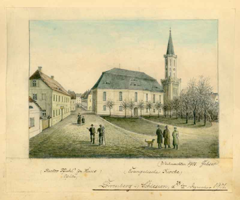 Miniatures of the Lower Silesian town Loewenberg today Lwowek in the Republic of Poland