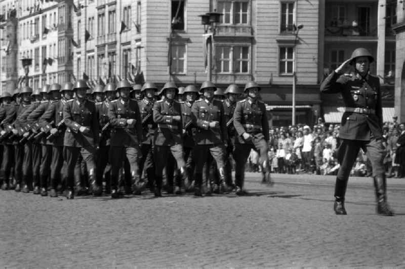 A delegation of the land forces of the NVA at the parade on 01 May in Magdeburg Saxony-Anhalt. The National People's Army (NVA) the Army of the GDR.