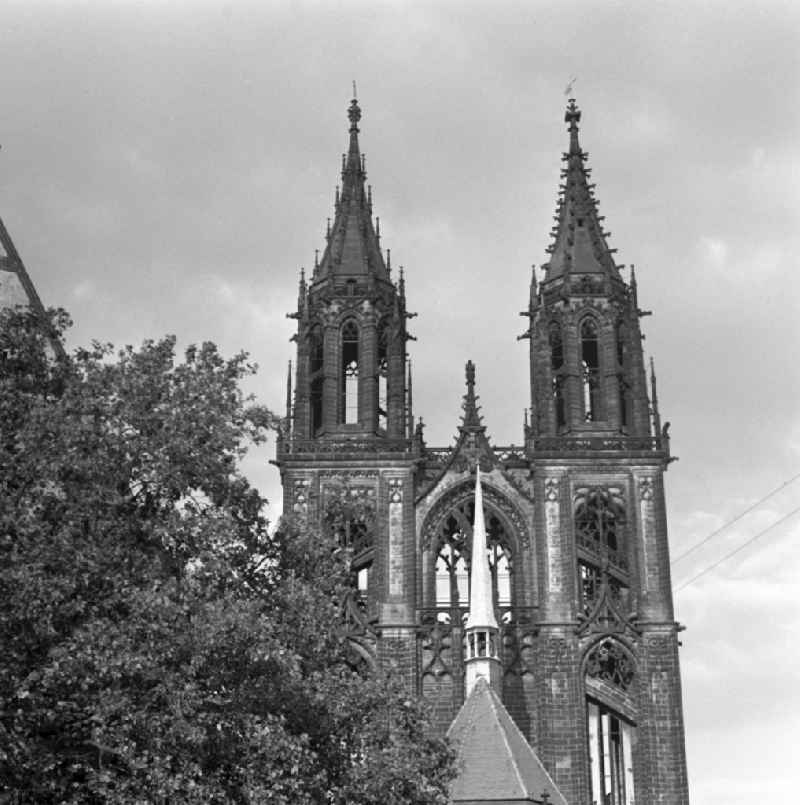 View of the baroque bell towers of the Cathedral of Magdeburg in Saxony - Anhalt