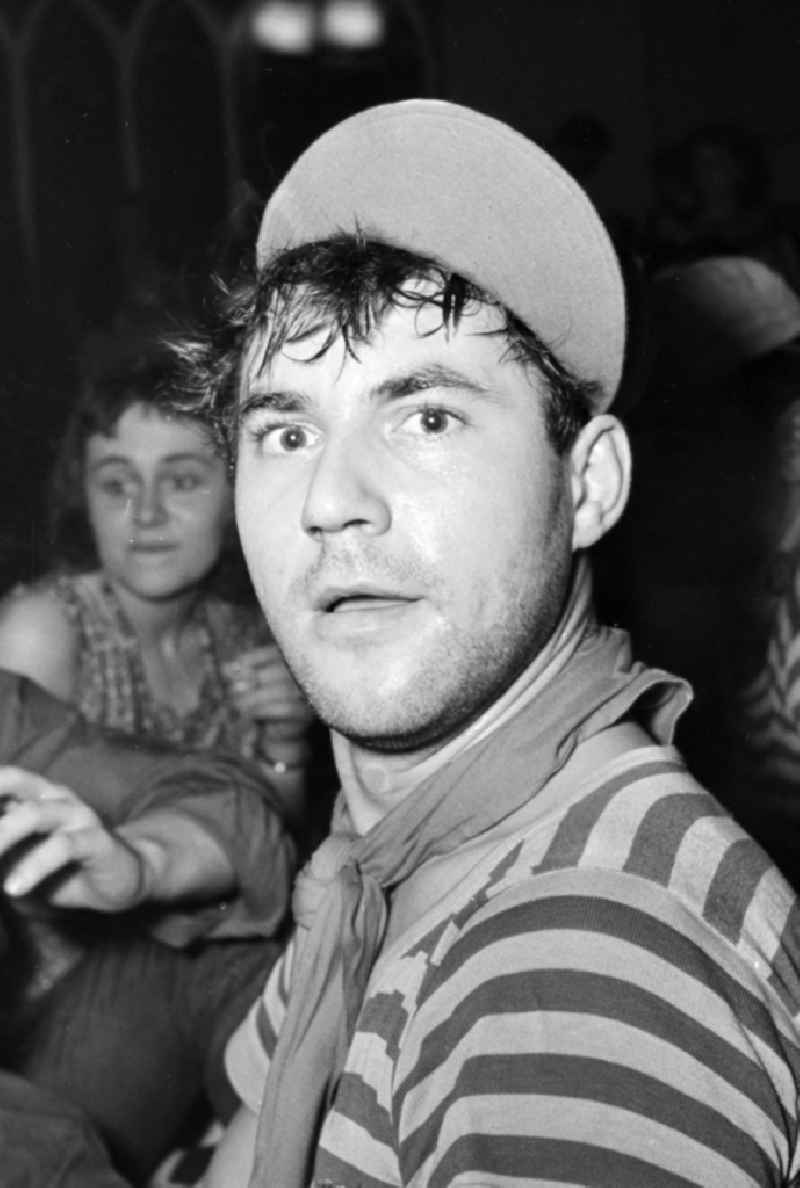 The Actor Willi Schrade at a carnival event in the film school in the district Babelsberg in Potsdam in the state Brandenburg on the territory of the former GDR, German Democratic Republic