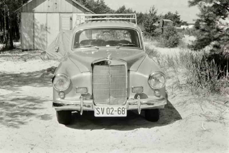 Car - Motor vehicle Wartburg 311 with Mercedes grille on the campground in Prerow in the state of Mecklenburg-Western Pomerania in the territory of the former GDR, German Democratic Republic