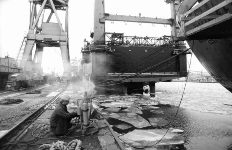 Shipbuilding production facility on the shipyard premises ' Mathias-Thesen-Werft ' in Wismar in the state Mecklenburg-Western Pomerania on the territory of the former GDR, German Democratic Republic